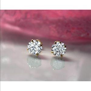 Jewelry - 14k Solid Gold Created Diamond Screw Back Earrings